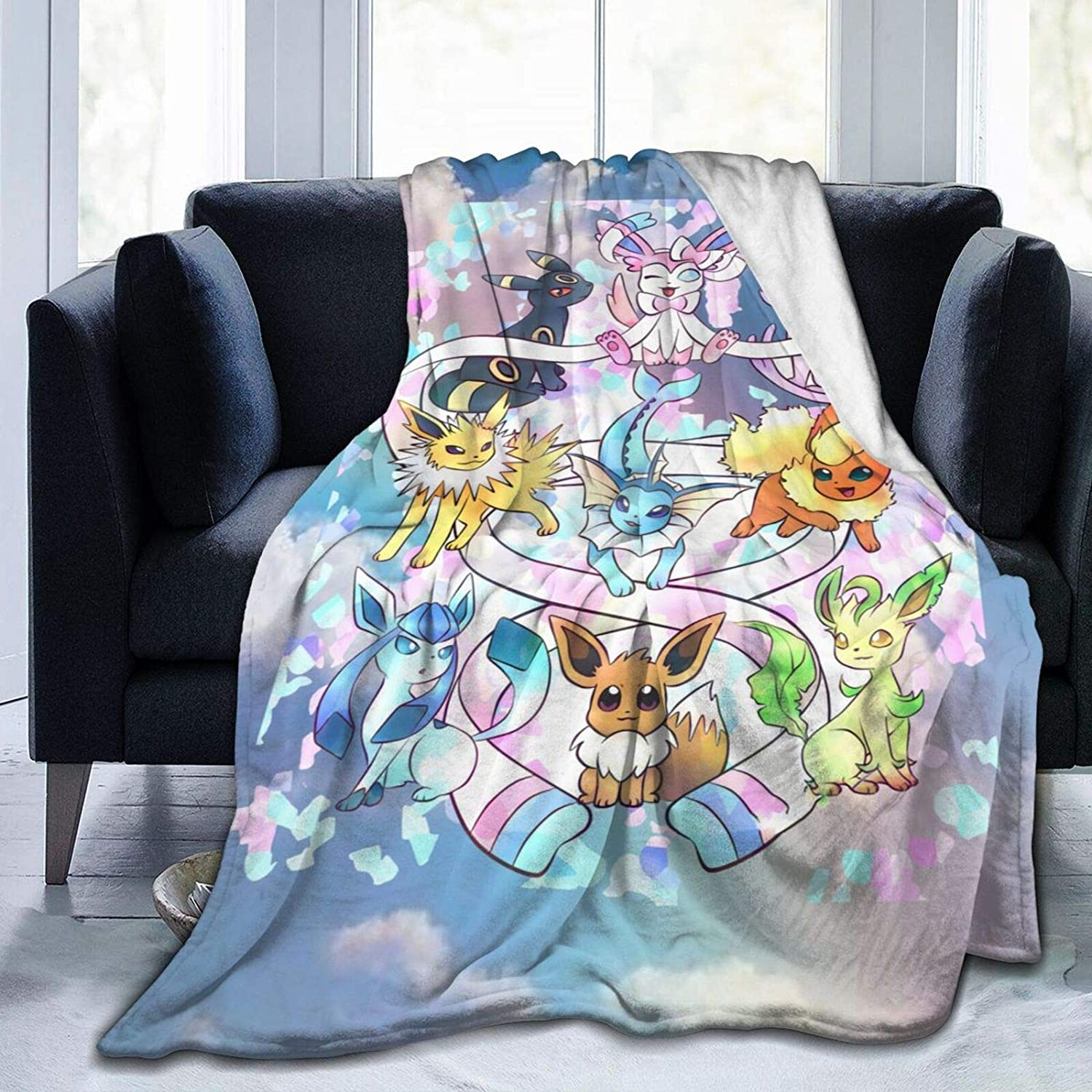 Duwamesva Eevee Evolutions Soft and Warm Plush Quilt for