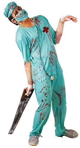 Mens Zombie Doctor Surgeon Horror Hospital Halloween Fancy Dress Costume Outfit
