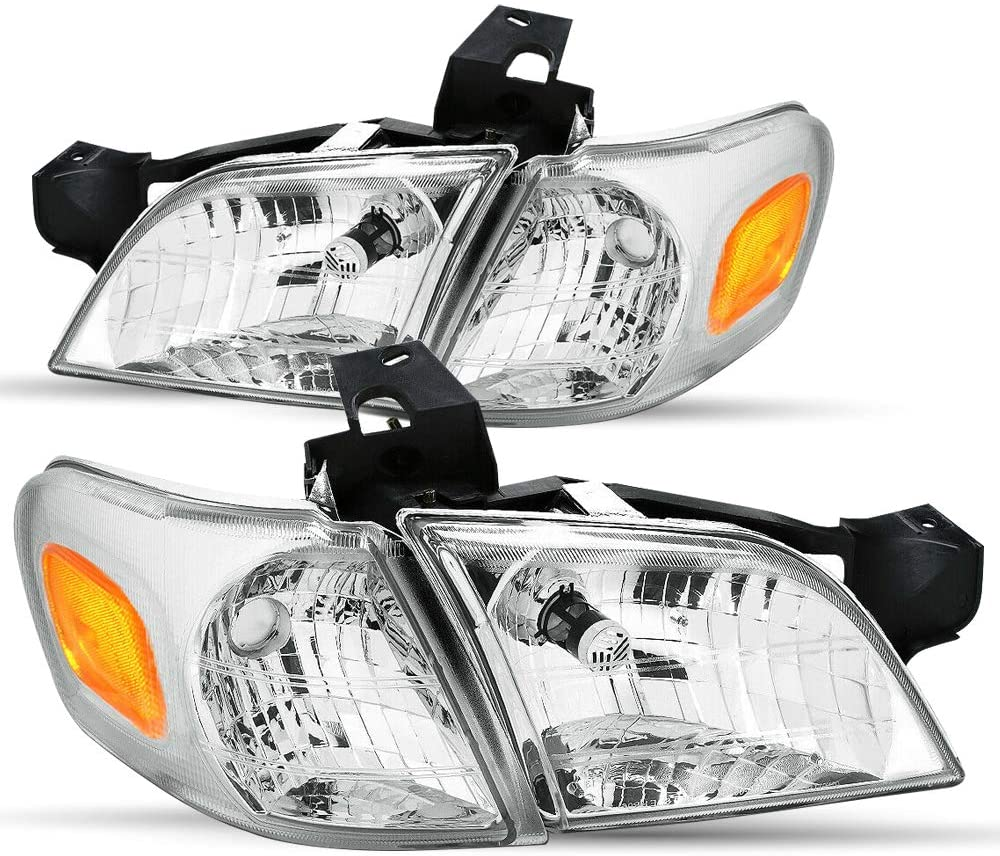Headlight Assembly Set Compatible with 97-05 Chevy Venture / 97-04 Oldsmobile Silhouette / 99-05 Pontiac Montana Sealed Headlamp Replacement Passenger Driver Side (Chrome)