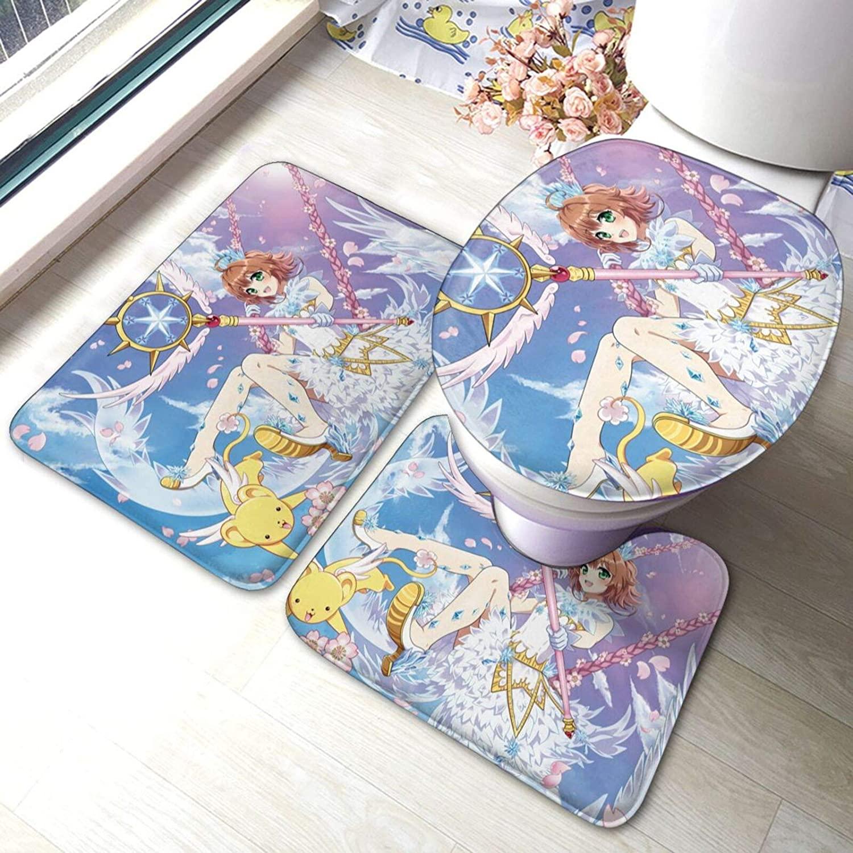 Vsldfjc Anime Cardcaptor Sakura Bathroom Antiskid pad, Fashion 3 Piece Bathroom Rug Mats Set, Rug Set Non Slip Bath Rug, Contour Mat, Toilet Lid Cover Rugs