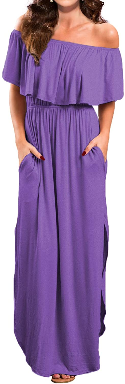 VERABENDI Women's Off Shoulder Summer Casual Long Ruffle Beach Maxi Dress with Pockets