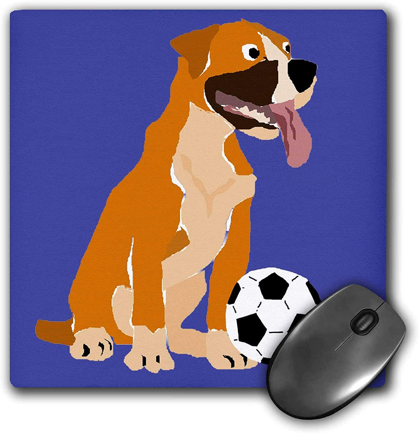 3dRose Cute Funny Boxer Puppy Dog Playing Soccer Sports Primitive Art - Mouse Pads (mp_326737_1)
