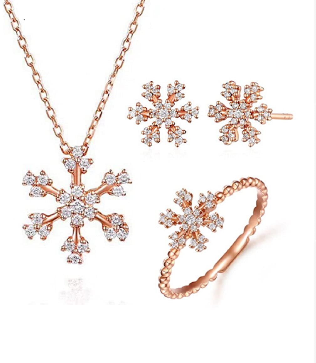GOWE 18k Solid Rose Gold Women Jewelry Set SI1 H Brilliant Diamond Snowflake Ring Stud Earring Pendant