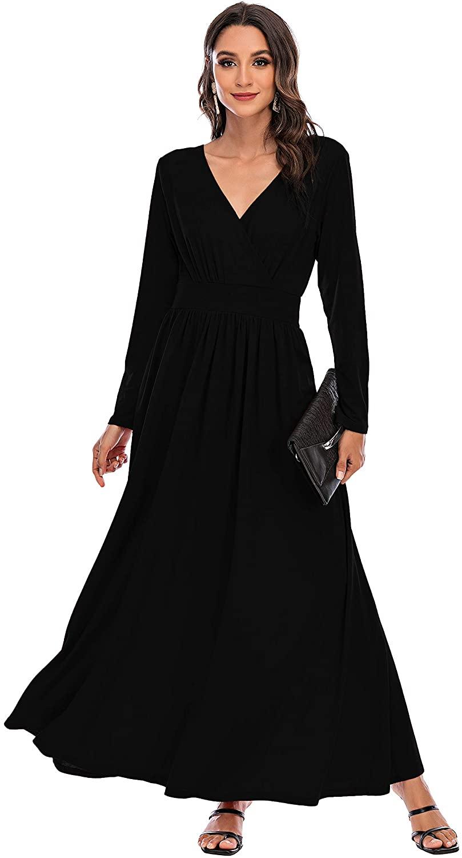 Double Chic Women's Casual Maxi Dress Deep V Neck Wrap Long Sleeve Swing Chiffon Dress with Pockets…