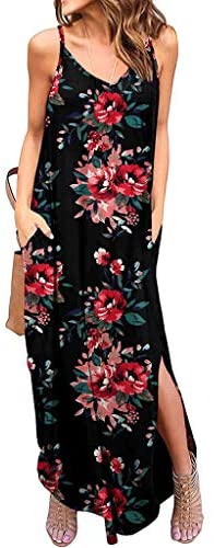 MIS1950s Womens Casual Loose Long Dress Sleeveless Sexy V-Neck Strappy Floral Print Beach Maxi Dresses with Pockets