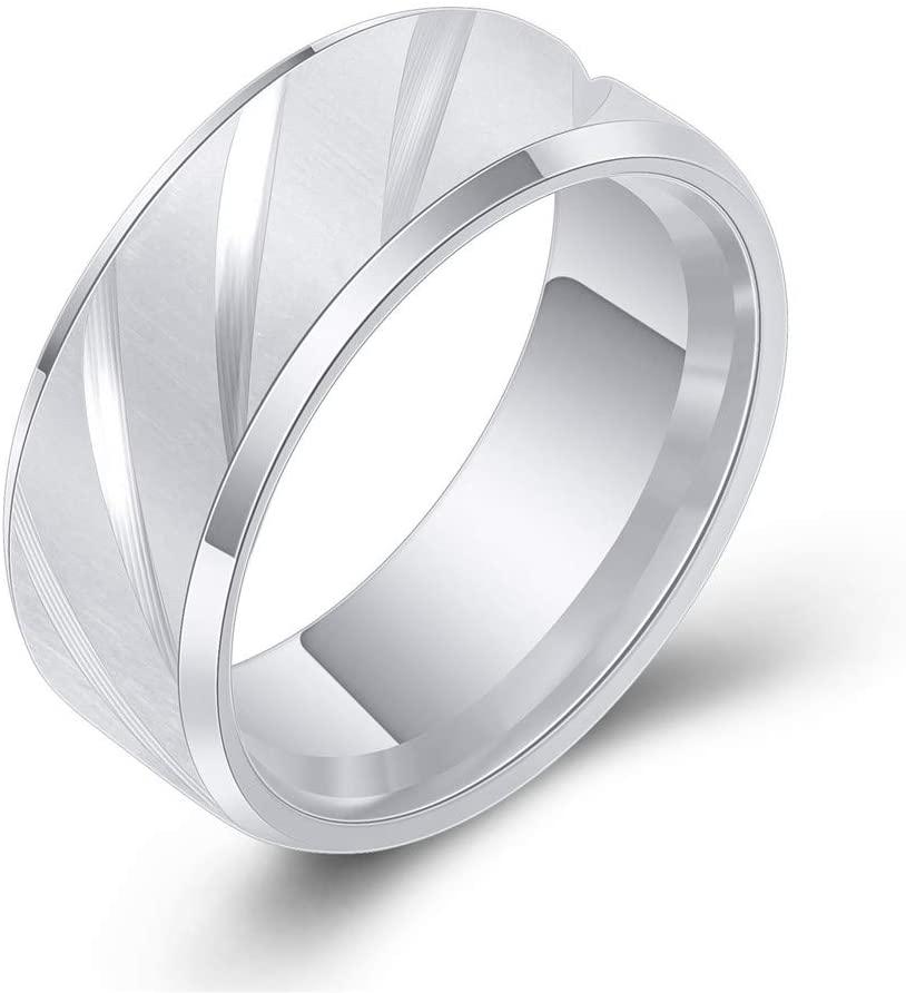 Gay Men Ring Simple Titanium Engagement Rings Wedding Band,Silver,Size 6