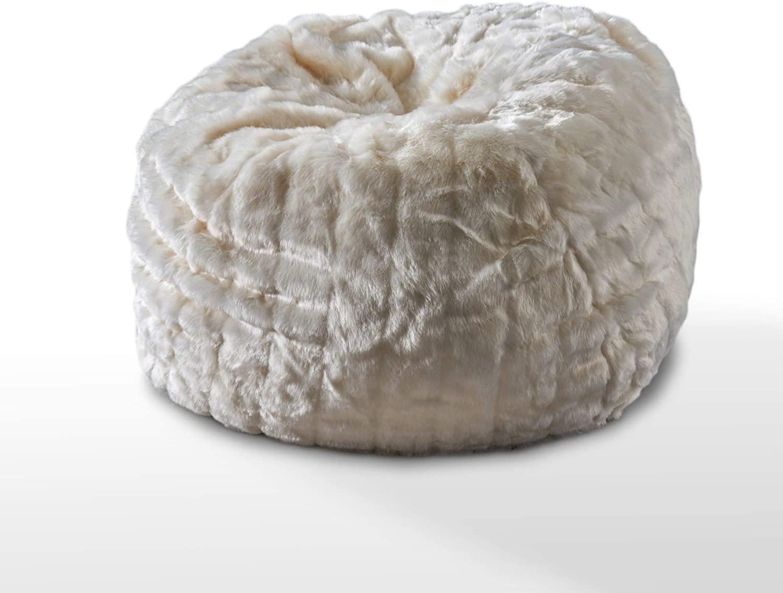 Christopher Knight Home Laraine Furry Glam White Faux Fur 3 Ft. Bean Bag
