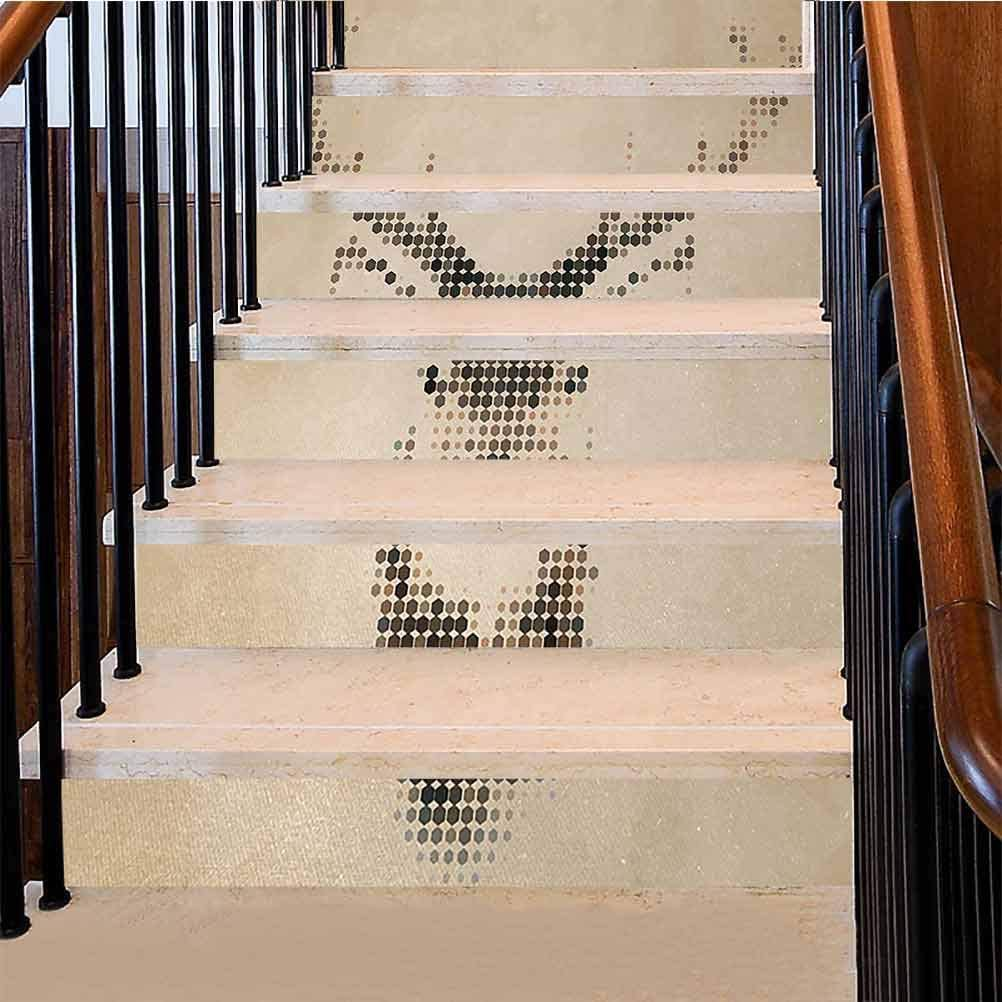 3D Stair Sticker Retro Style Deer Portrait with Digital Dots and Geometric Circle Vintage Graphic Waterproof Oil-Proof 3D Stair Decals Easy to Use and Very Attractive Cream Brown 39 x 7 Inch, 6 PCS