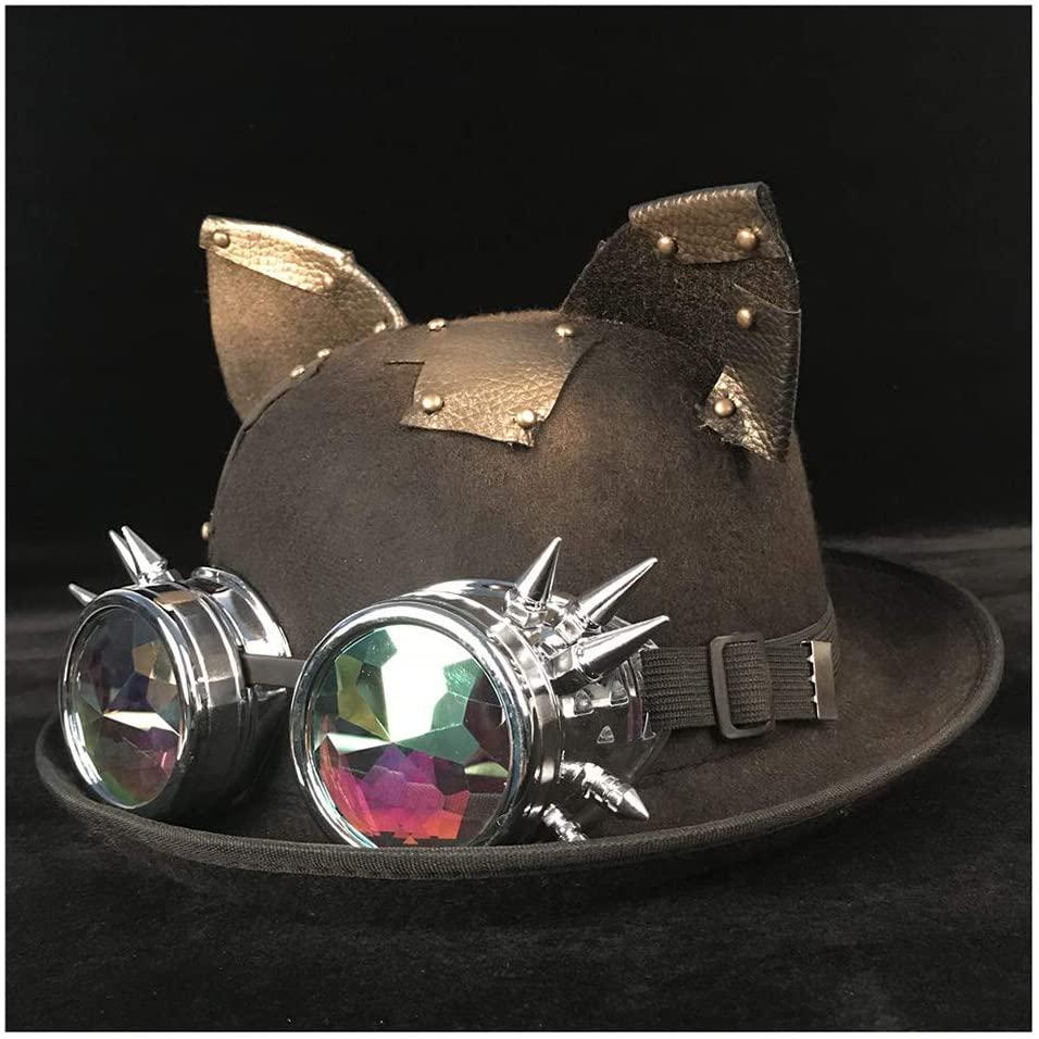ZHANGBBB Women Men Steampunk Bowler Hat Cosplay Glasses Topper Billycock Groom Hats Headwear Dome Topper Luxury Fedora Hat (Color : Black BLG, Size : 57-58cm)