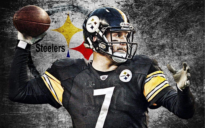 Ben Roethlisberger Pittsburgh Steelers Poster Print, Real Player, American Football Player, Canvas Art, Ben Roethlisberger Gift, Artwork Size 24''x32'' (61x81 cm)