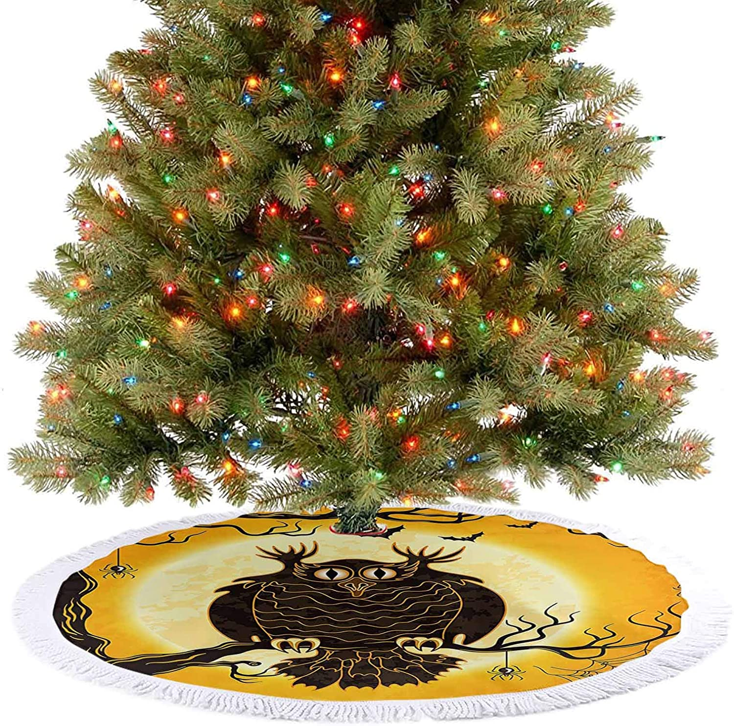 Adorise Christmas Tree Skirt Spooky Owl on Tree Branch Surrounded by Spider Webs and Bats Fear Xmas Decoration Holiday Ornaments for Christmas Holiday Party Decorations - 48 Inch