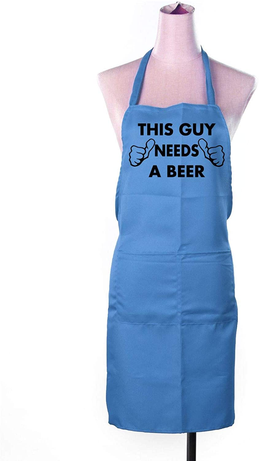 Festival-Fashion Funny Apron Mens Womens Cooking Novelty Rude Chefs Gift This Guy Needs A Beer Blue