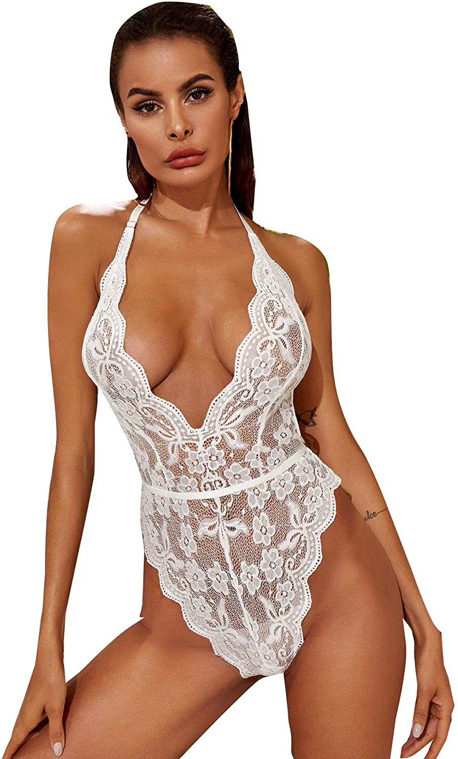 SOLY HUX Women's Lace Sheer Mesh Sexy Teddy Bodysuit Lingerie Sleepwear Nightwear