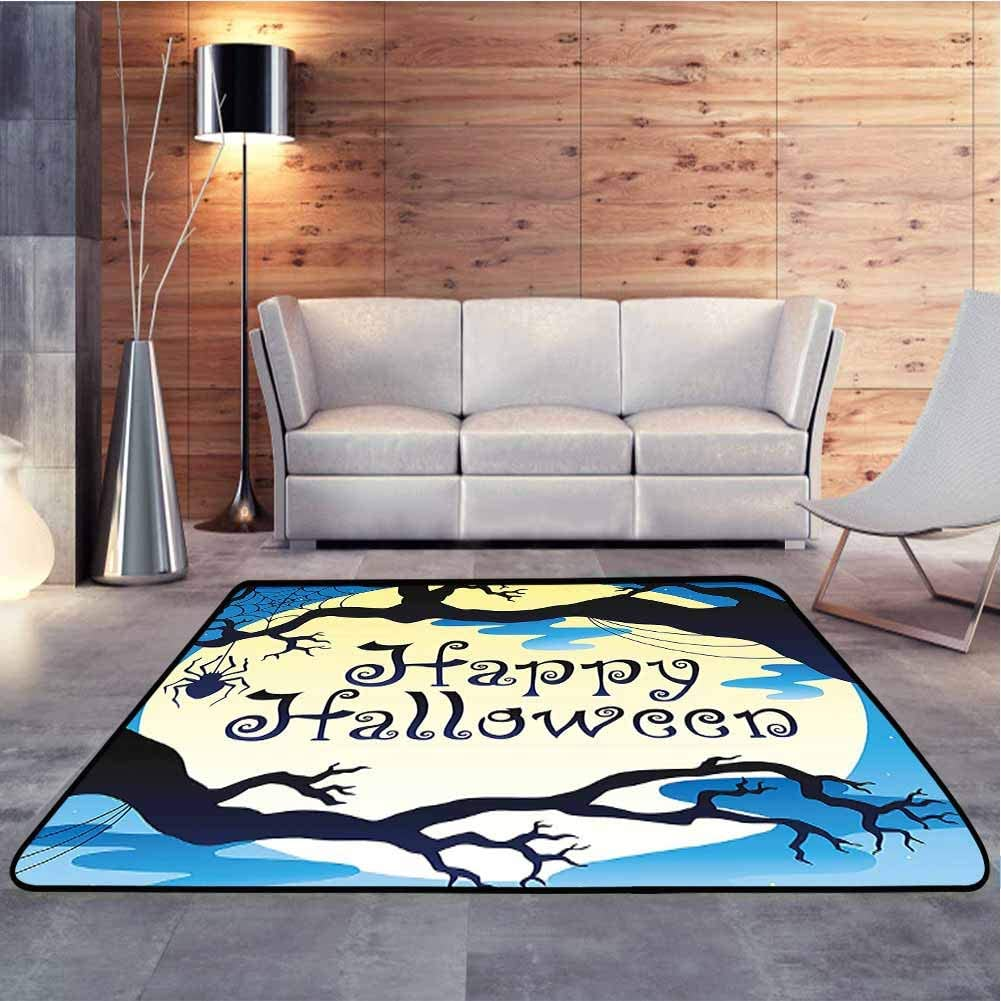 Modern Indoor Rugs Happy Halloween Quote Spooky Night Moon and Branches Shadows Haunted Lights Christmas Thanksgiving Holiday Decor Rug for Indoor Living Dining Room, 7 x 7 Feet