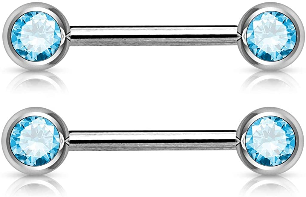 Pierced Owl Double Gemmed Front Facing Nipple Barbells in 316L Stainless Steel