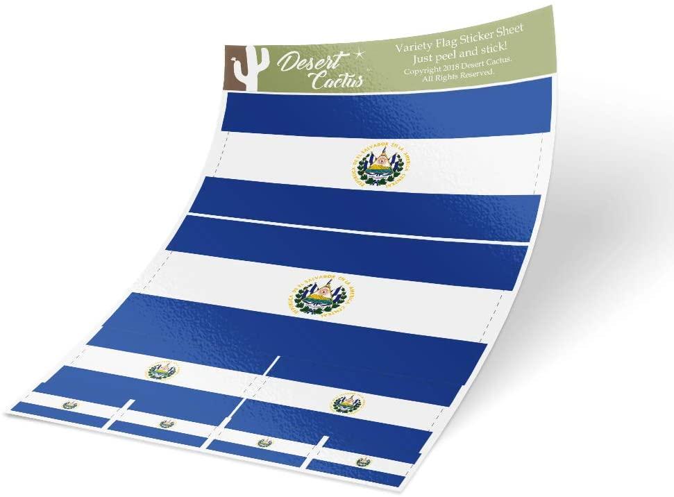 El Salvador Country Flag Sticker Decal Variety Size Pack 8 Total Pieces Kids Logo Scrapbook Car Vinyl Window Bumper Laptop V