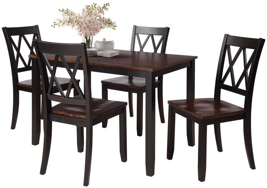 YYAO Dining Table Set Soild Wood 5 Piece Kitchen Room Set Dining Table with 4 Classical Cross Back Chairs,Kitchen Dining Table Furniture Set for Kitchen Dining Room,Black & Cherry