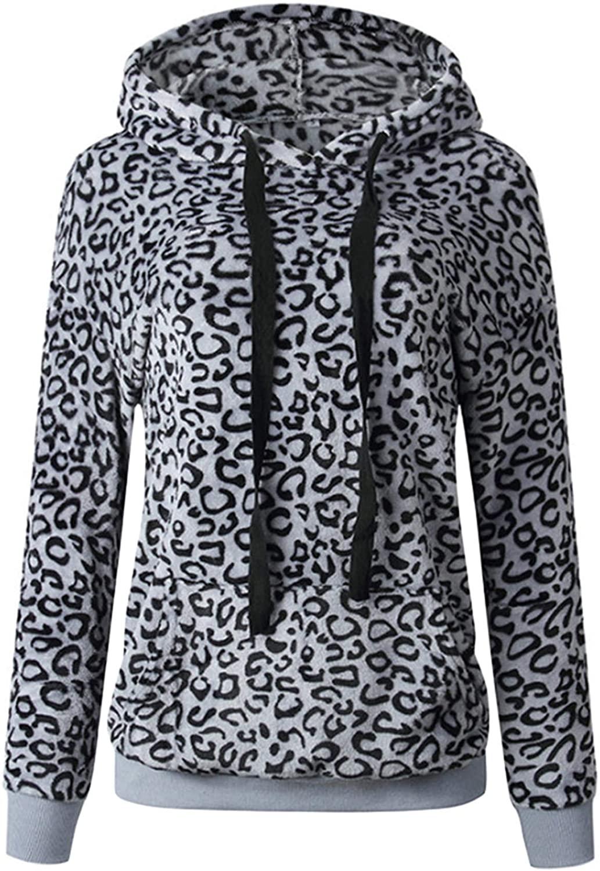 Soluo Women's Leopard Printed Hoodies Sweatshirt Fluffy Fleece Long Sleeve Drawstring Pullover Winter Sherpa Outwear