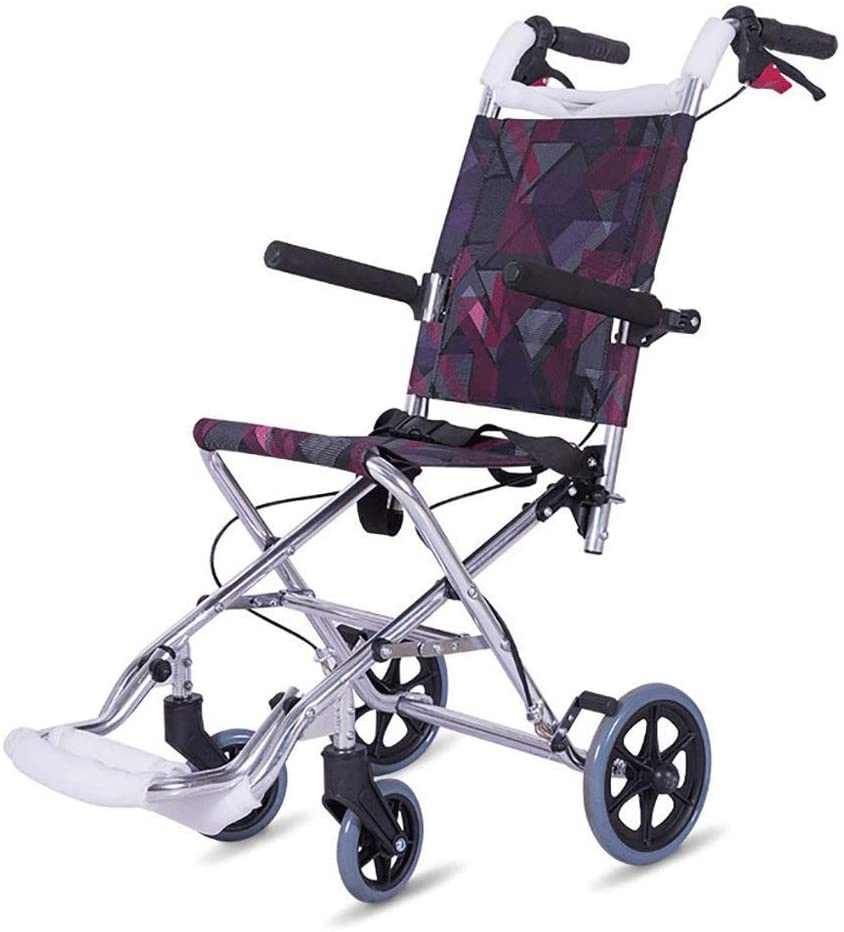 HLL Wheelchair, Old Hand Push Step Folding Light Aluminum Wheelchair Wheelchair Cushion Breathable - Silver, Folding Size - 17.72