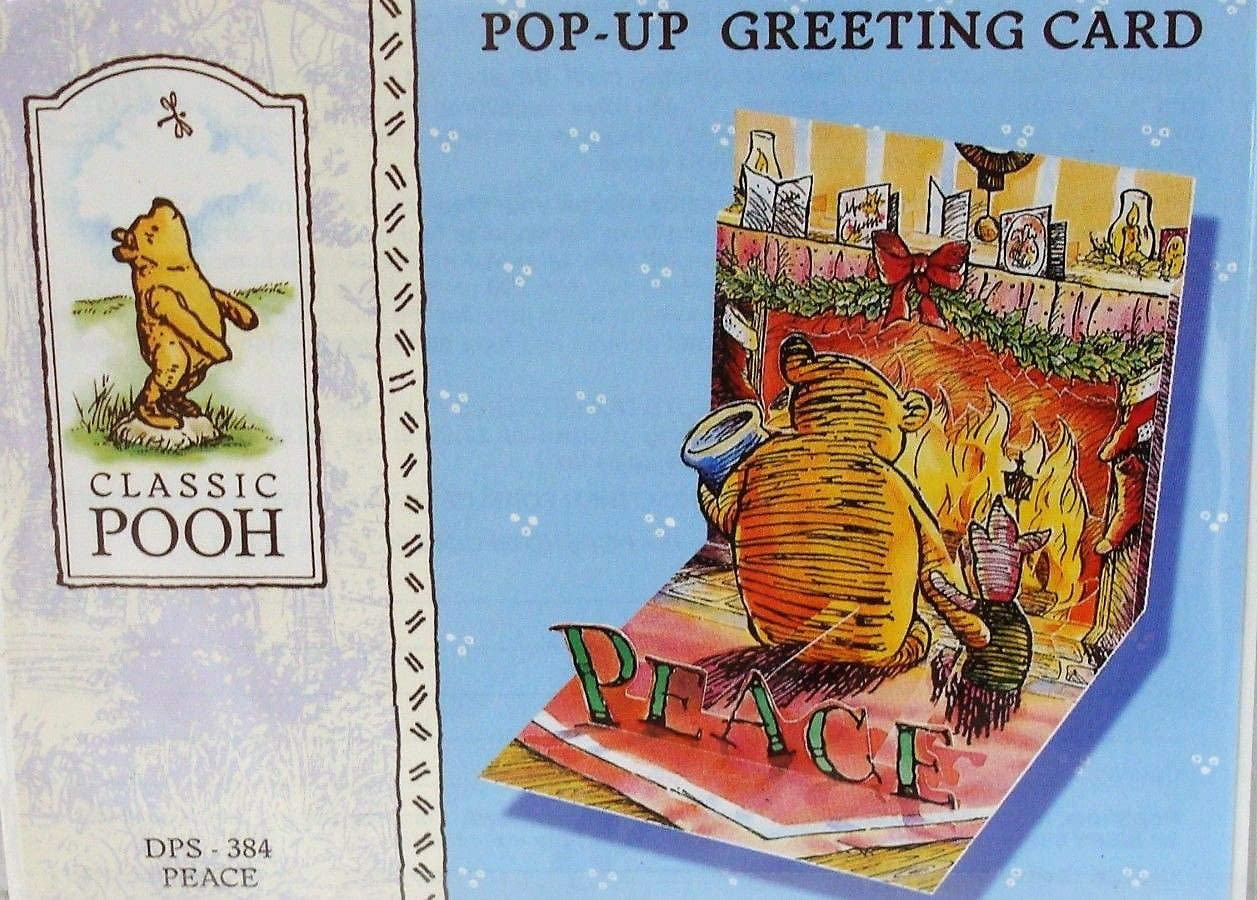 Classic Winnie the Pooh Pop-Up Christmas Card PopShots Peace