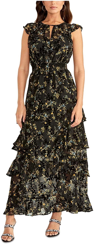 Rachel Roy Womens Black Floral Keyhole Maxi Sheath Dress Size 4
