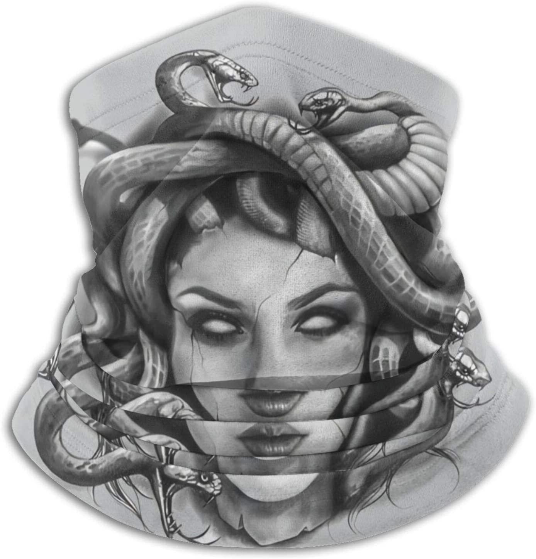 Caimizogojocrz Warm Neck Garter, Medusa Head Portrait Soft Microfiber Headgear, Scarf, Face Mask
