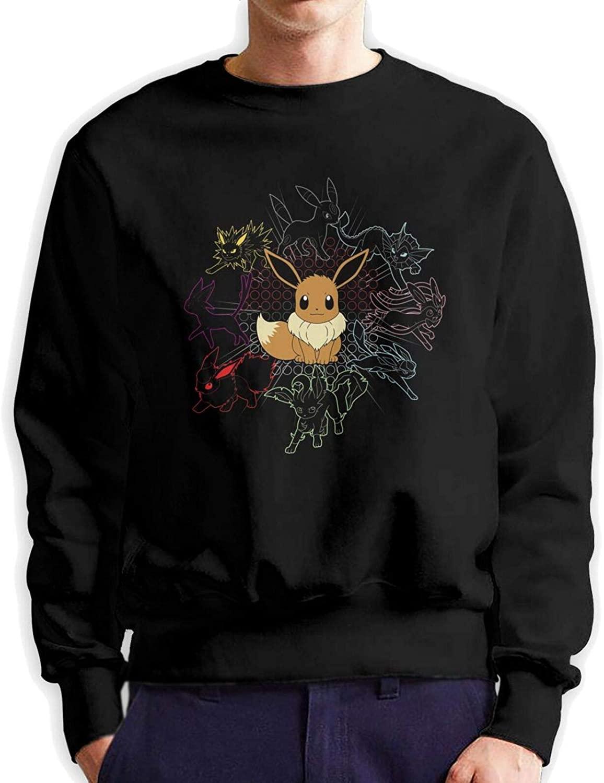 Pokemon Eevee Polar Fleece Crew Neck Sweater Classic Style Long Sleeve Sweatshirt Front and Back Patterns
