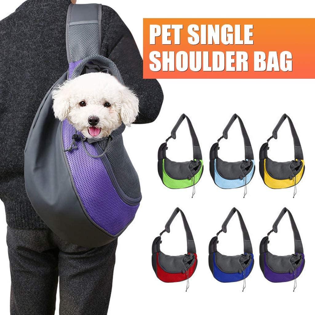 BJYXSZD Pet Dog Sling Carrier Hands-Free Breathable Mesh Travelling Pet Sling Bag Adjustable Padded Strap Front Pouch Single Shoulder Bag for Dogs Cats