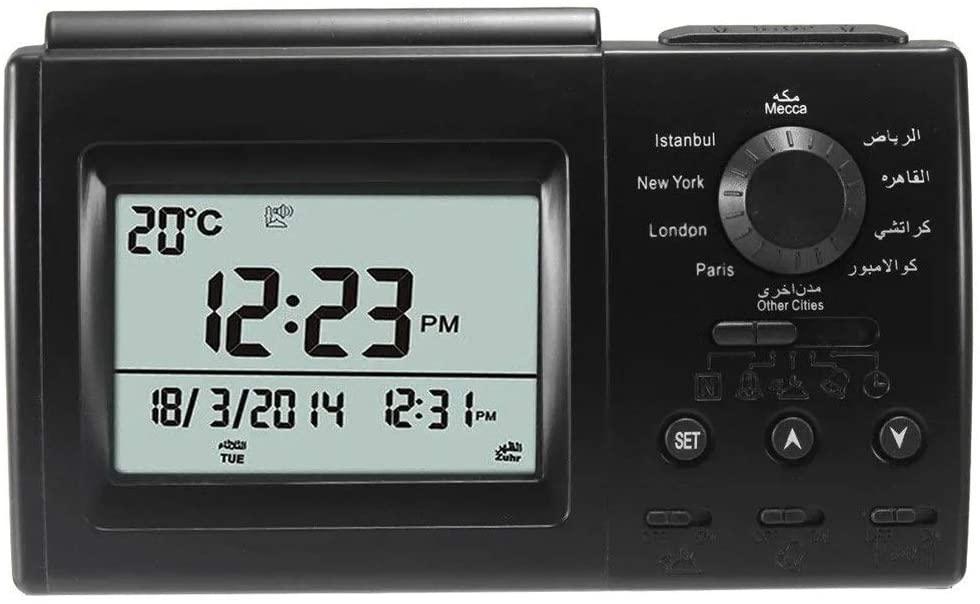 Tuuertge Alarm Clock Digital Automatic Islamic Azan Muslim Prayer Alarm Adhan Table Clock Black Simple Design Bedside Clock (Color : Black, Size : One Size)