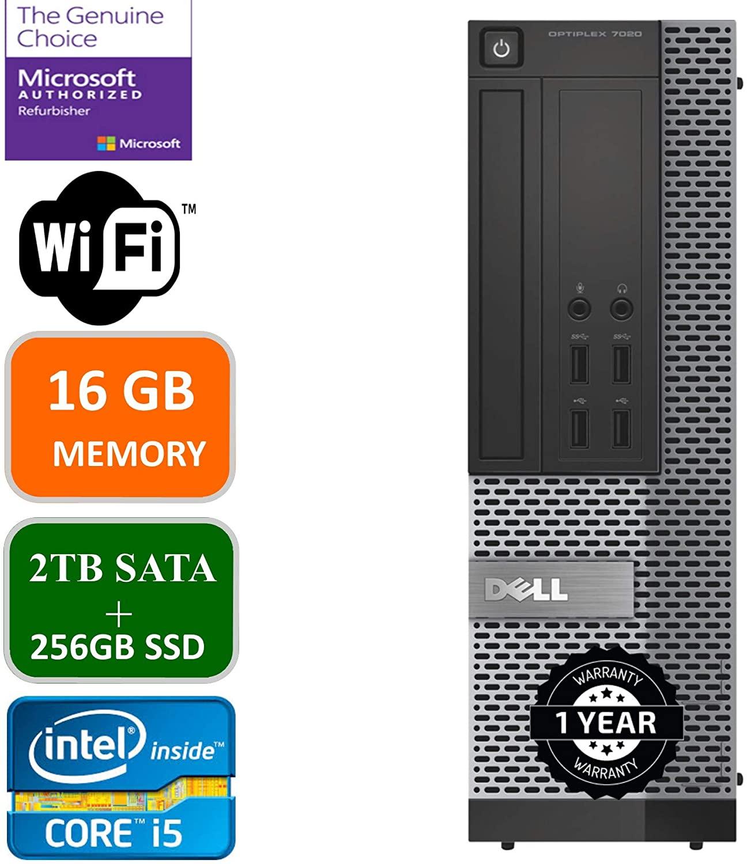 Dell Optiplex 7020 Desktop Computer, Intel Quad-Core i5-4570-3.2GHz, 16 GB RAM, 2TB +256GB SSD HDD, DVD, USB 3.0, WiFi, HDMI, Windows 10 Pro (Renewed)