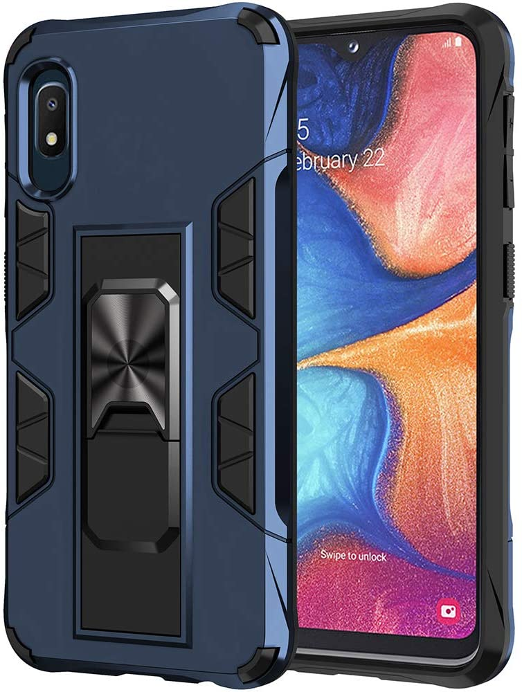 Dionsibei Samsung Galaxy A10E Case with Screen Protector Military Grade Built-in Kickstand Case Holster Armor Heavy Duty Shockproof Cover Protective for Samsung Galaxy A10E Phone Case (Blue)
