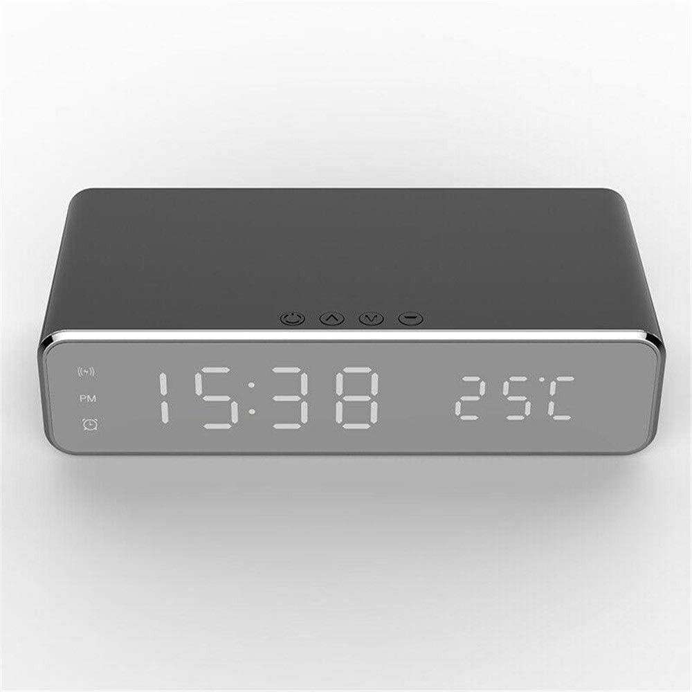 Tuuertge Alarm Clock Electric LED 12/24H Alarm Clock with Phone Wireless Charger Table Digital Thermometer Display Bedside Clock (Color : Black, Size : One Size)