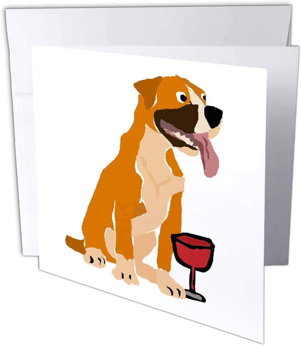 3dRose Cute Funny Boxer Puppy Dog Drinking Wine Primitive Art - Greeting Cards (gc_326736_5)