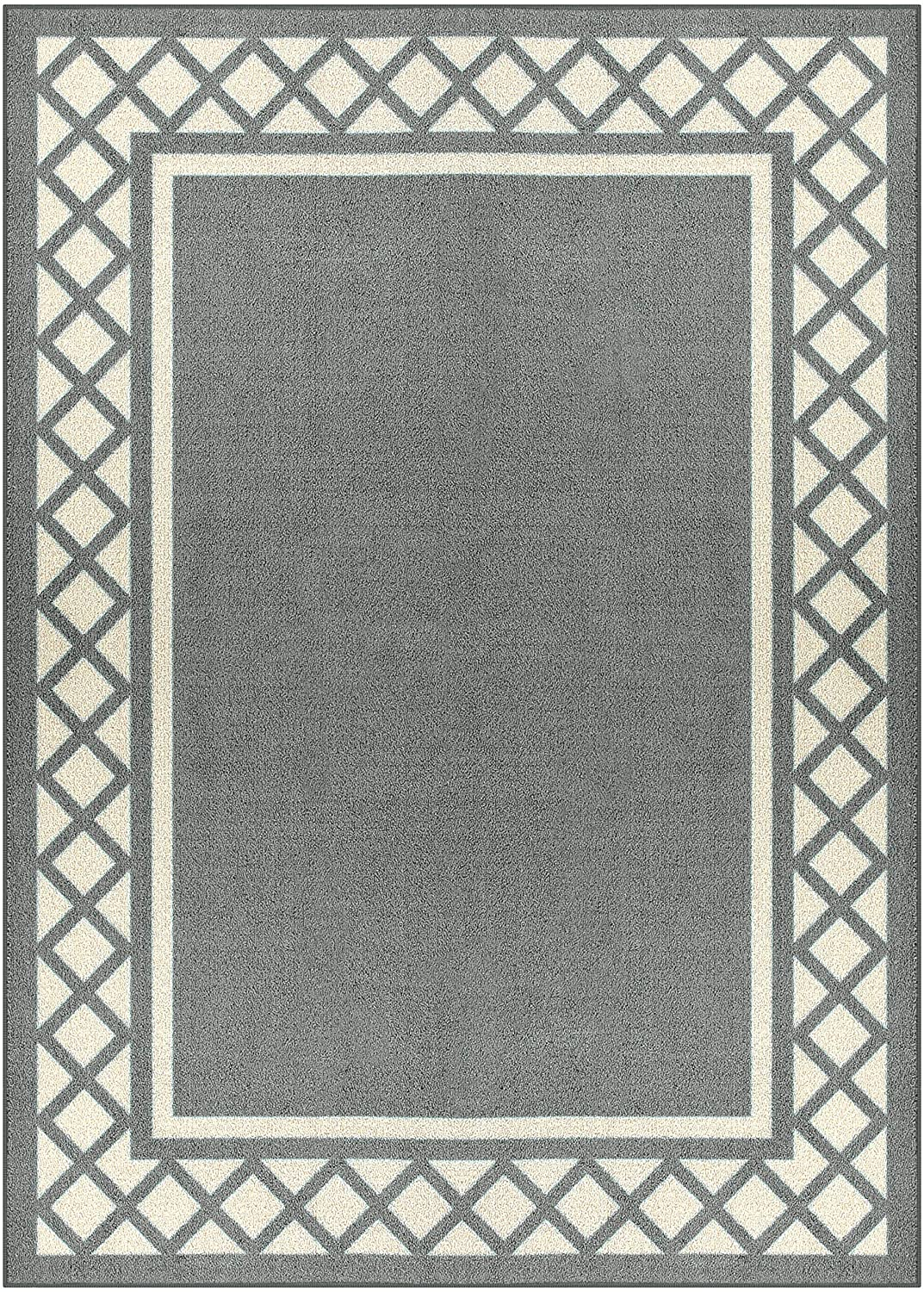 Maples Rugs Bella Area Rugs for Living Room & Bedroom [Made in USA], 5 x 7, Grey