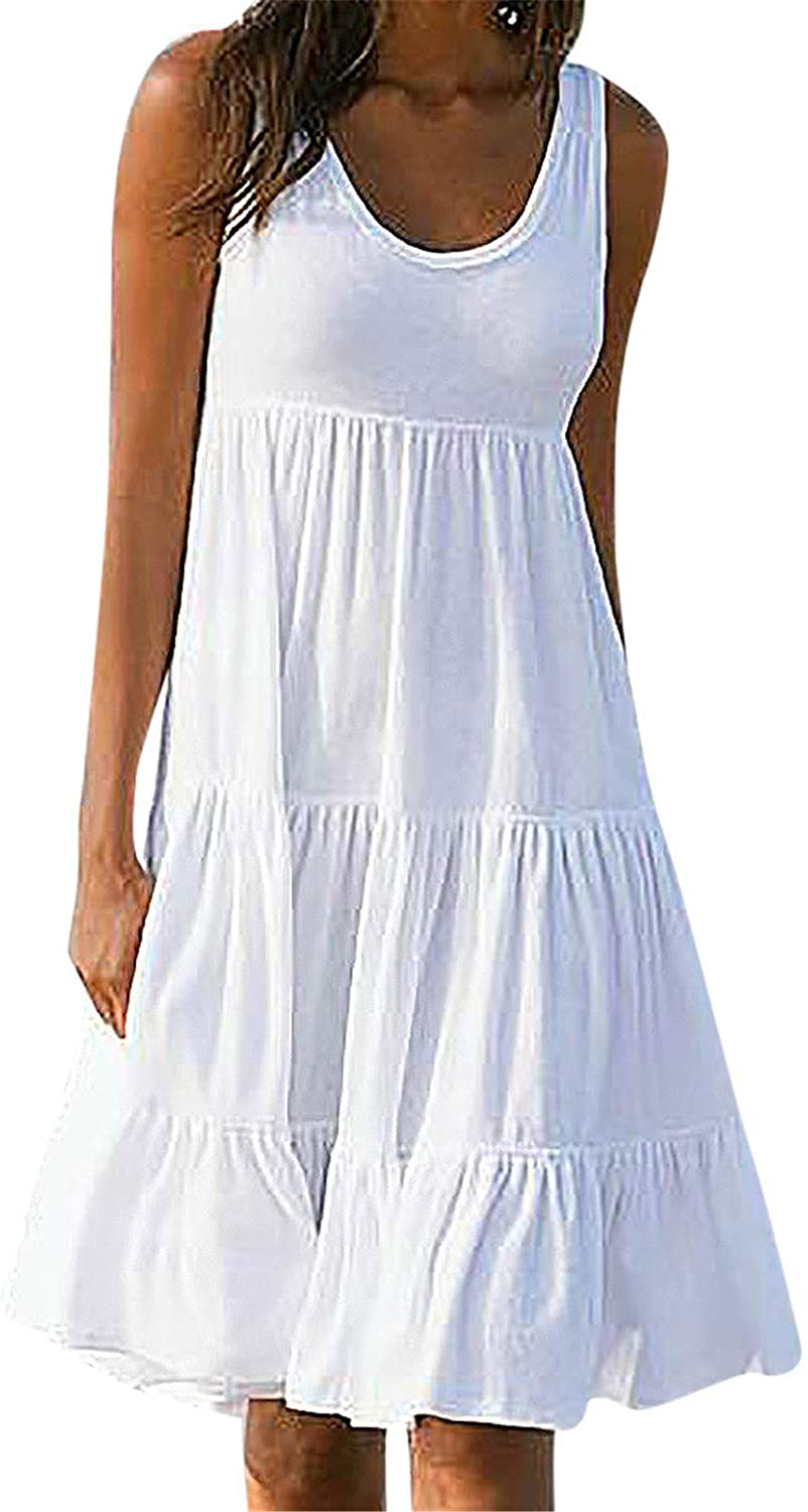 Notapplicable Ladies Solid Color Sleeveless Beach Dress Fashion Sleeveless Party Dress