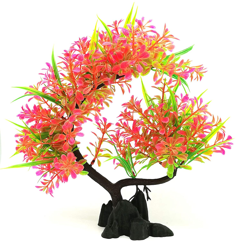 EKUEY Aquarium Ornaments Pink Plastic Plants Decorations for Betta Fish Tank