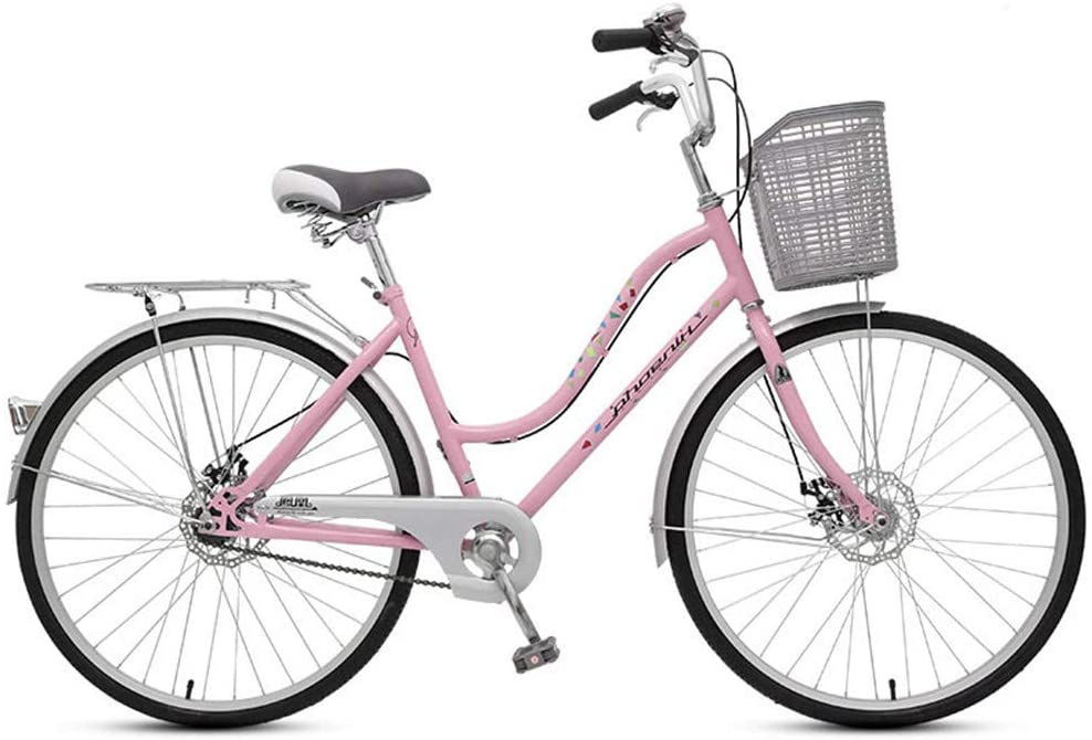 ZJDU Single Speed Comfort Bikes for Men Women,Single Speed Beach Cruiser Bike, Comfortable Commuter Bicycle, High-Carbon Steel Frame, Front Basket & Rear Racks,Pink,24 inch
