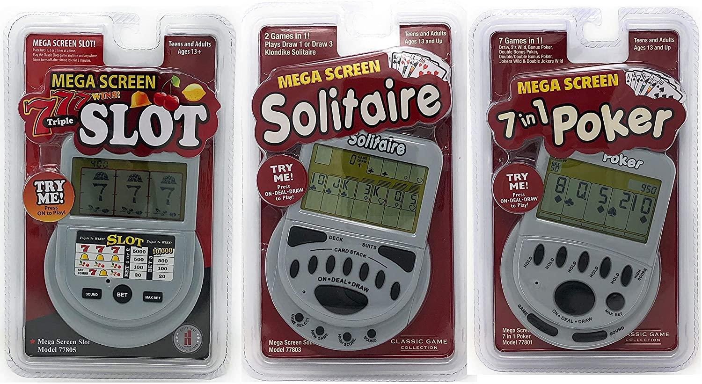 Mega Screen Handheld Gambling Game Pack Bundle of 3 - Solitaire - Slot Machine - Poker