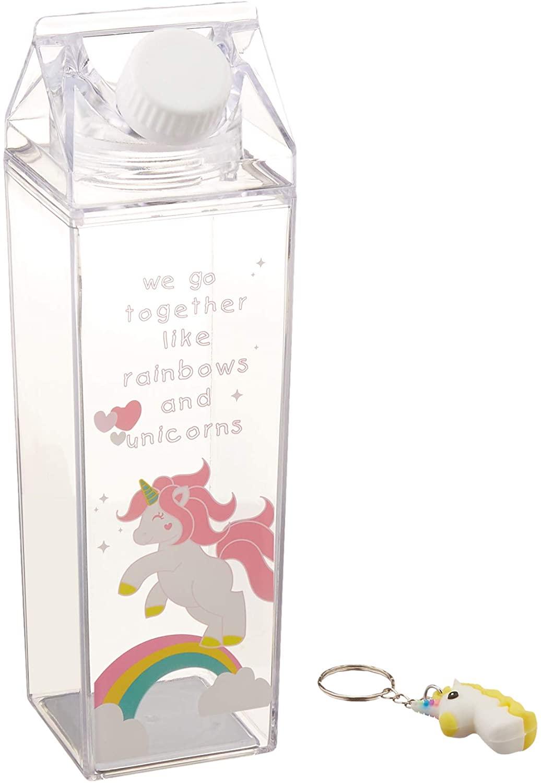 Unicorn Water Bottle – Milk Carton Shaped Water Bottle - BPA Free Child Friendly - Environmentally Reusable – Clear Carton Water Bottle – Juice Bottle – 500ml Handy Travel Size + Free Unicorn Keyring