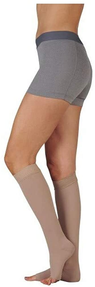 Juzo 3511MXAD3SB43 V Dynamic Max 20-30 mmHg Open Toe Knee High Firm Compression Stockings With 3.5 cm Silicone Border - Pink44; V - Extra Large