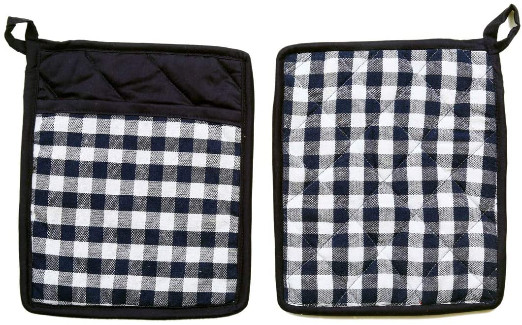 HC Cover Buffalo Check Cotton Pot Holder Pack of 5 with Pocket Hot Pad Set for Finger Hand Wrist Protection Heat Resistant (Color Navy Blue & White Size 8