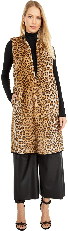 FUZZI Faux Fur Cheetah Print Vest