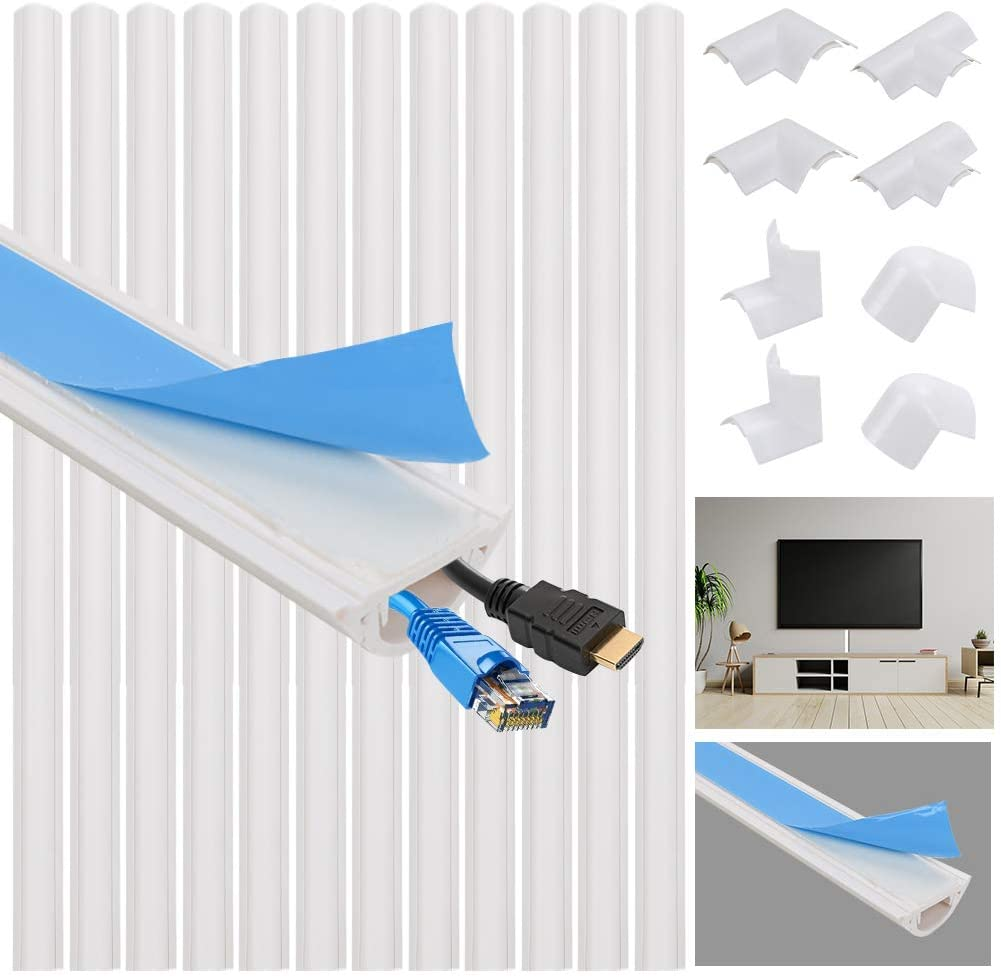 VAlinks PVC Cord Cover, 189 in Cable Concealer Cover, Wall Wire Corner Hide TV Cables Covers, Paintable Channel Cable Hider Raceway Kit, Self Adhesive Channel for Home Office (B)
