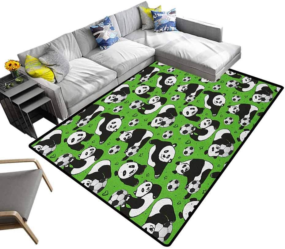 Modern Rugs Soccer, Original Faux Rug Funny Panda Animals Playing with Balls Hand Drawn Style Hearts and Stars for Bedroom Living Room Girls Kids Nursery Lime Green Black White, 6.5 x 10 Feet