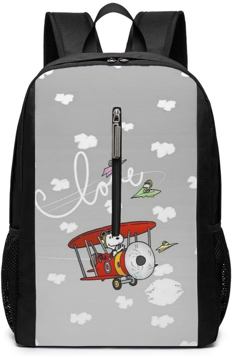 Backpack 17 Inch, Snoopy Driving Glider Large Laptop Bag Travel Hiking Daypack for Men Women School Work