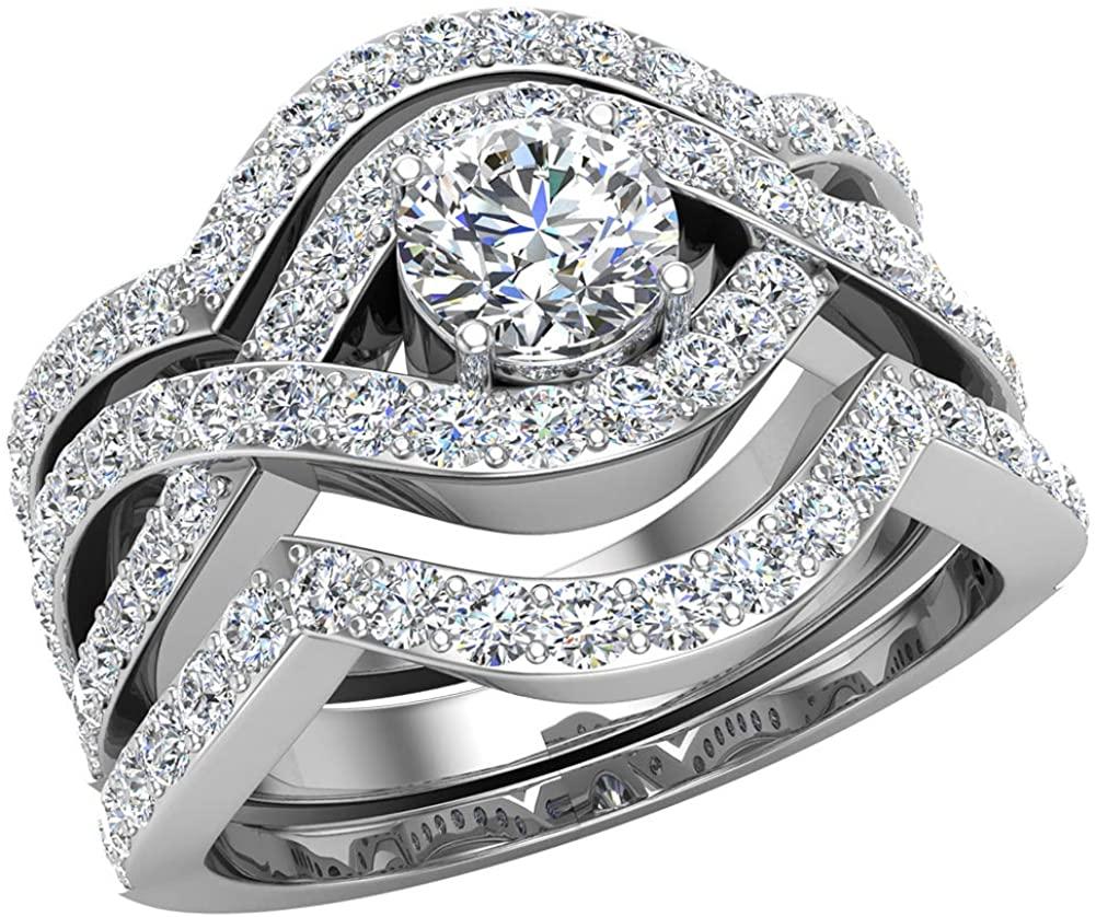 Criss Cross Intertwined Diamond Wedding Ring Set w/Enhancer Bands 1.20 Carat 14K Gold