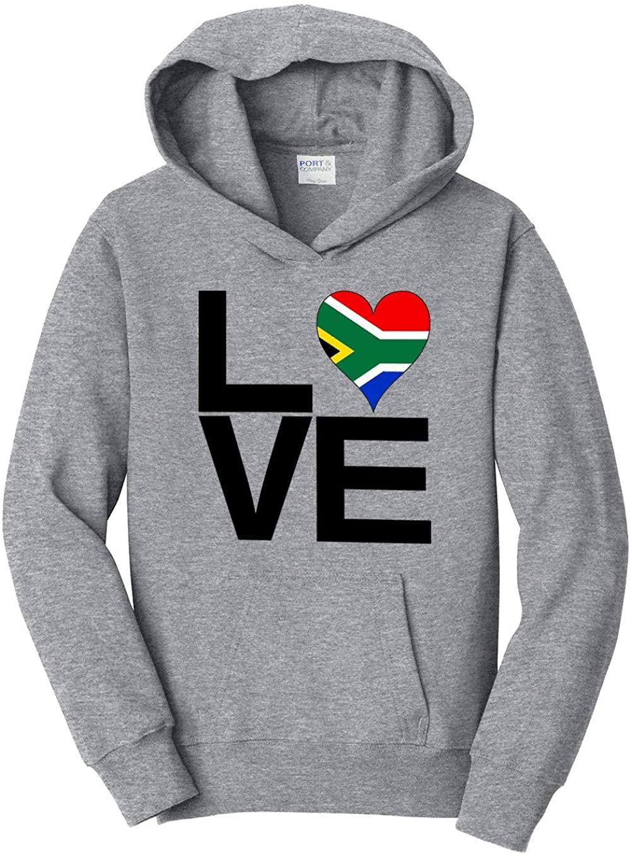 HARD EDGE DESIGN Boys Youth Love Block South Africa Heart Hooded Sweatshirt, Small, Heather Grey