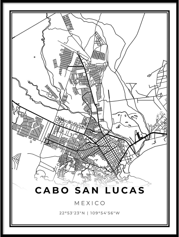 Skanndi Cabo San Lucas Map Print, Mexico Map Art Poster, Cabo Los Cabos, Modern Wall Art, Street Map Artwork 11x14