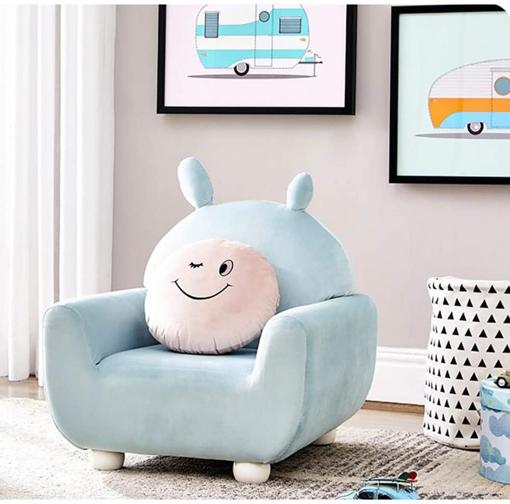 DW&HX Soft Short Plush Children's Chair, Nordic Style Cute Cartoon Kid's Armchair Adorable Wooden Frame Kids Sofas with Hidden Zipper for for Living Room Bedroom -B 495555cm(192222in)