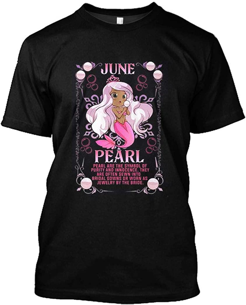 Birthday Shirt Manga Kawaii Anime Mermaid Pearl Black Girl June Birthstone T-Shirt Funny Gift for Men Women
